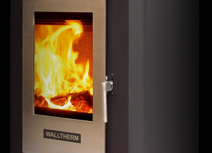 Jayline Walltherm Ultra Low Emission Burner - wood fire close up
